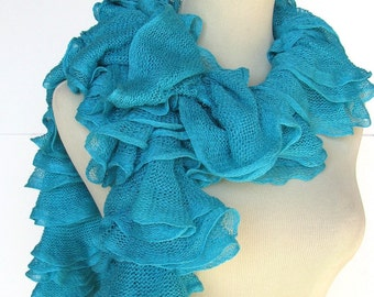 Valentine's Day, Sale, Turquoise Hand Knit Scarf Ruffle Scarf, Spring Scarf, Mothers Day Knit Scarf, Ruffle Scarf, Blue Scarf, Fashion Scarf