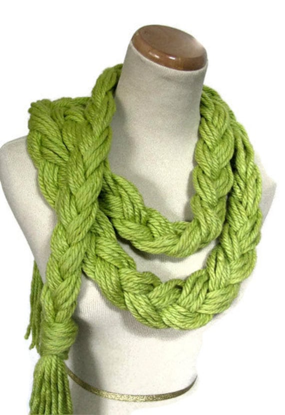 Lime Green Braided Scarf, Fashion Scarf