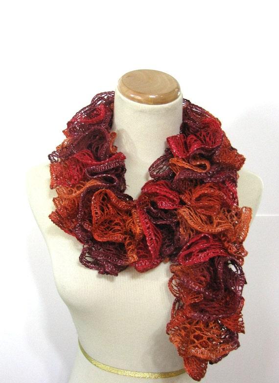 Sunset Orange Scarf. Ruffle Scarf, Fall Accessory, Hand Knit Scarf, Knit Scarf, Womens Scarf, Fiber Art