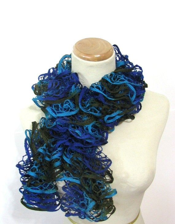 Hand Knit Scarf, Ruffle Scarf, Knit Scarf, Spring Scarf, Mothers Day, Turquoise Royal Blue Dark Olive Green