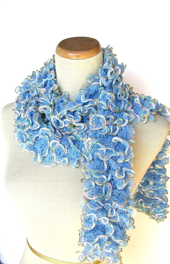 Sale Blue Hand Knit Scarf Ruffle Scarf Christmas In July