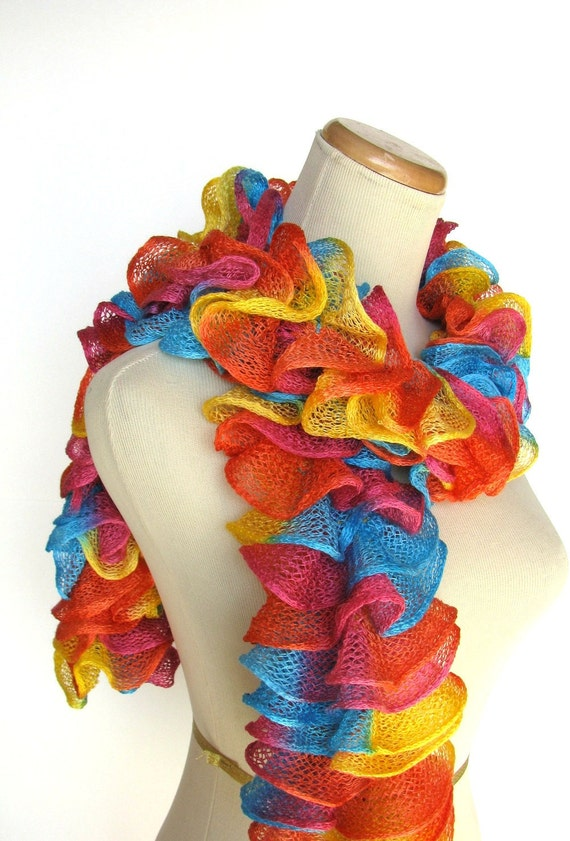 Circus Rainbow Hand Knit Ruffled Scarf - Orange Turquoise Yellow Pink