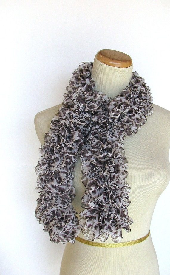 Animal Print Hand Knit Ruffled Scarf - Brown White