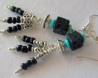 Black Silver Dangle Earrings Lava Stone with Turquoise and  Free Shipping in USA