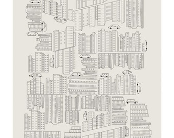 Buildings and Cars Print - Different Sizes