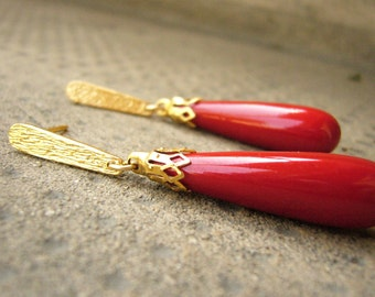 Red Coral Drops, Long Dangle Earrings, Sterling Silver or Gold Coral Earrings, Holiday Red Earrings, Red Drop Earrings, Red dangle earrings