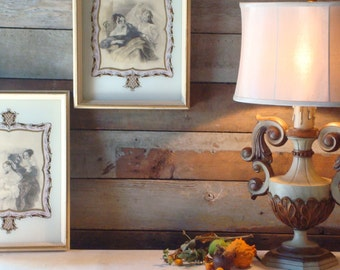 Ivory, Shabby home decor, golden violet ivory