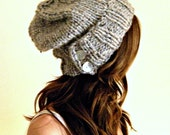 Slouchy Hat Warm Winter Beanie with Buttons / THE SALT CITY / Salt Springs