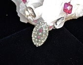 SALE - Deep Pink Agate, Pink Crystals and Rock Crystal beads with a Vintage Rhinestone Pendant -necklace wrapped in Sterling Silver wire