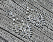 RAGING RHINESTONE - Pearls and rhinestone dangles on sterling silver wire