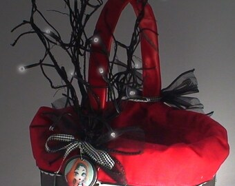 Red Riding Hood  Basket  Purse with Enchanted Tree for Halloween Trick or Treat  in Silver, Black and Red