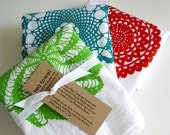 Set of Three. Kitchen Towels. Cotton Tea Towels. Hand Screen-Printed. Doily Design. Gift Set.