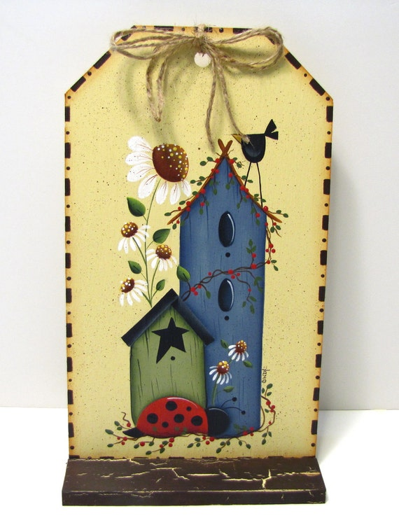 Birdhouses, Lady Bug, Daisies, Crow, Handpainted, Large Wood Tag, Wall Art or Shelf Sitter