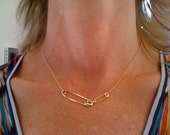 Solid 14k Gold Safety Pin Necklace