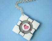 Laser cut acrylic Portal companion cube necklace