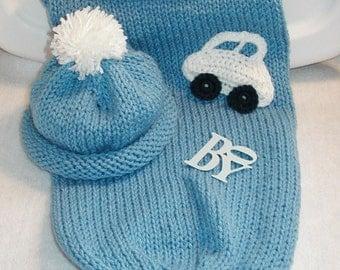 Blue Cocoon Set for Baby Boy (Medium Blue) (0-4 months)