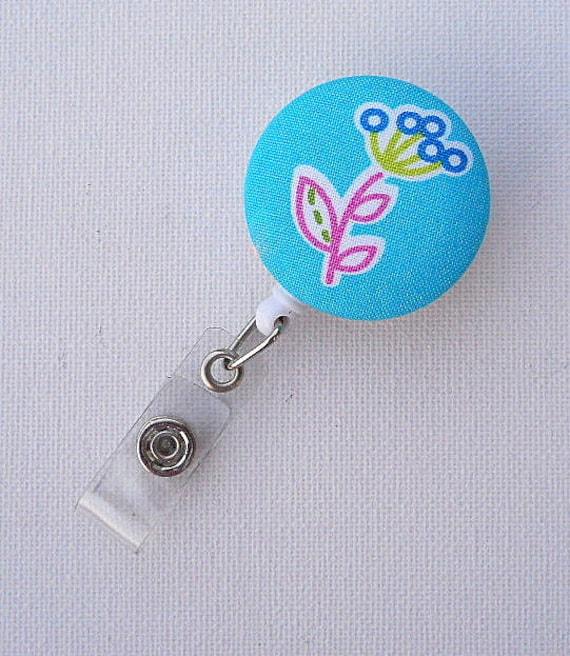 Cornflower - ID Badge Reel - Name Badge Holder - Flower Badge Clip - Fun Badge Holder - Nurse Gift - Teacher Gift