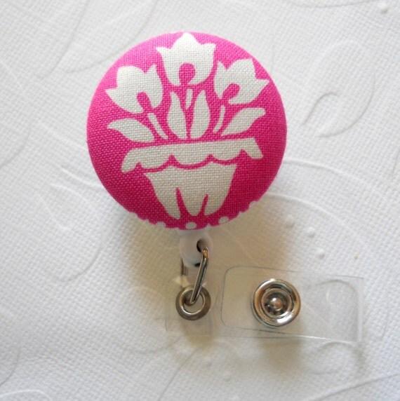 Cute ID Badge Reel - Nurse Badge - Flower Badge Reel - Nursing Badge Holder - Name Badge Holder - pink and white tulips