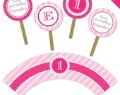 Pretty in Pink party - Personalized DIY printable cupcake wrapper and topper set