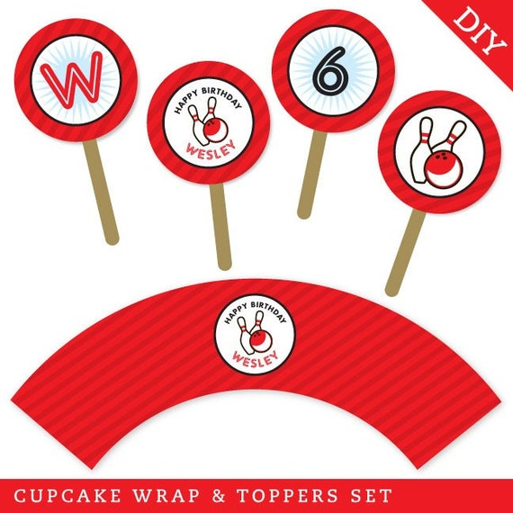 Bowling party - Personalized DIY printable cupcake wrapper and topper set