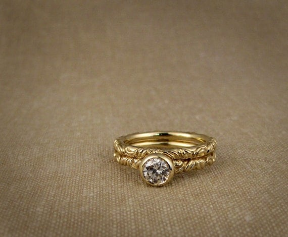 Victorian Solitaire and Wedding Band Set (14K) Made to Order