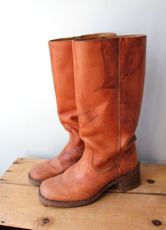 Vintage Auburn Leather Campus Boots