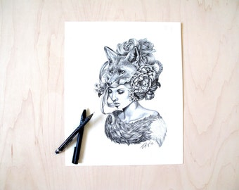 Illustration- Fox mask- Black and white- -signed print- woman portrait- power animal