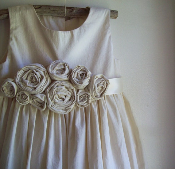 Rustic flower girl dress, country flower girl dress, beach flower girl dress, cotton flower girl dress