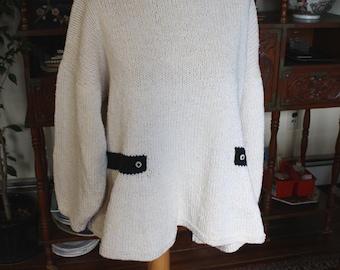 Vintage 1980's Fabulous Heavy Cotton Knit Sweater