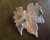 Autumn Leaves Brooch - Warm Brown Natural Finish Ceramic Leaf with Fused Glass Dew Drops  - OOAK - SRA - cgge