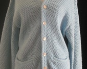 Vtg 60s JANTZEN Lt. Blue Wool Oversized Deep-V Crochet Knit Cardigan Sweater