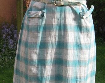 Vtg Homefront Heroine Teal Metallic Silver Plaid Cotton Shirtwaist Dress Bakelite Rhinestone Buttons Mermaid Wiggle Skirt larger size