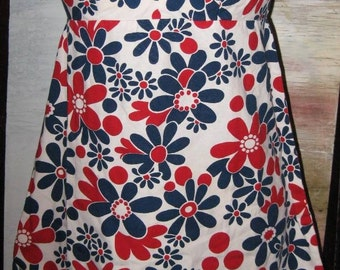Vtg 60s Red White Blue Floral Print Empire Waist A-Line Pin Up Dress M L