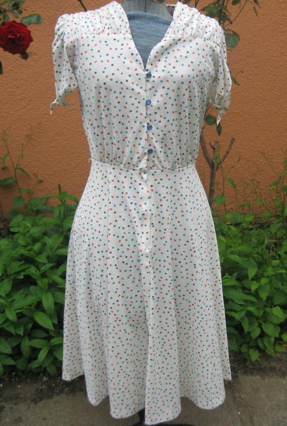 Vtg 60s White ATOMIC Shape Dot Print Keyhole Sleeve Full Skirt Dress M L
