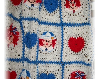 Raggedy Ann and Andy Crochet Baby Afghan or Blanket Crochet Pattern PDF - INSTANT DOWNLOAD.