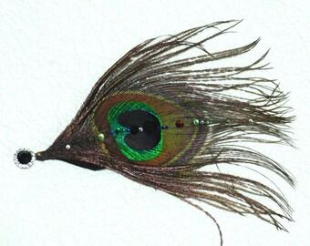 Peacock and Swarovski Fascinator bobby pin