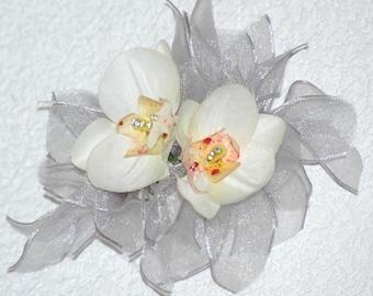Sheer Silver, Orchid and Swarovski Barette