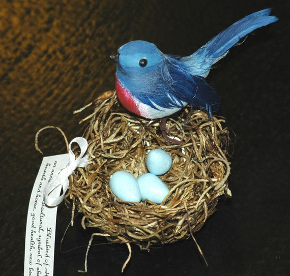 Personalized  Blue Bird of Happiness Wedding Favor Thank Yous
