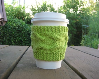 Hand Knit Cup Cozy, Lime Green Coffee Sleeve, Tea Cozie, Eco-Friendly Reusable, Wedding favors