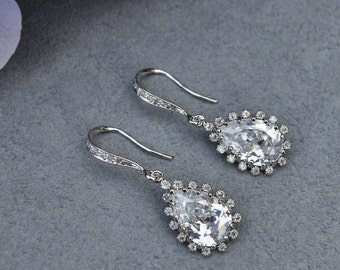 Wedding Bride Bridal Sophisticated Lacy Teardrop Earrings - Custom Requests Welcome