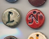 Set of 5 Ceramic Initial / Alphabet Charms - Choose your letters and colors