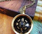 Unisex Wanderlust Brass Compass Necklace