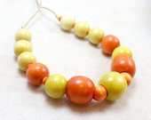 Nursing Necklace in Bright Yellow and Orange Wood Breastfeeding Baby Wearing