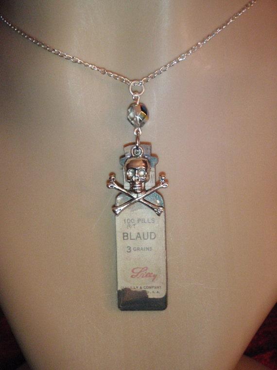 Vintage style poison bottle necklace/ gothic