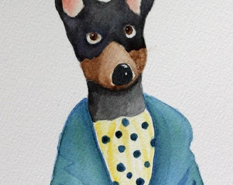 Good Morning - original watercolor- dog with coffee mug, custom, doberman, kitchen art, humorous, tea, dog in robe drinking tea