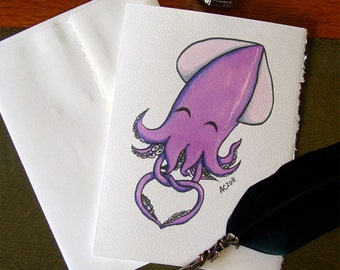 Squid Greeting Card - Tangled Up in Love - heart knot tentacles