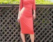 V-Neck Shirred Jersey Dress-Burnt Orange