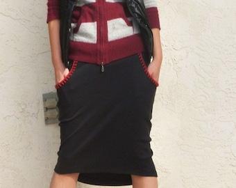 Oval Jersey Skirt-Black