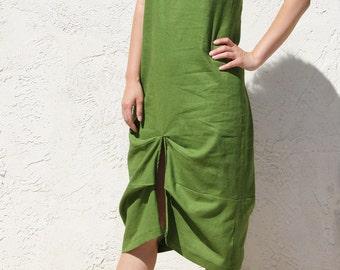 Origami Pleats Linen Sleeveless Dress / Handmade Dress - Moss Green