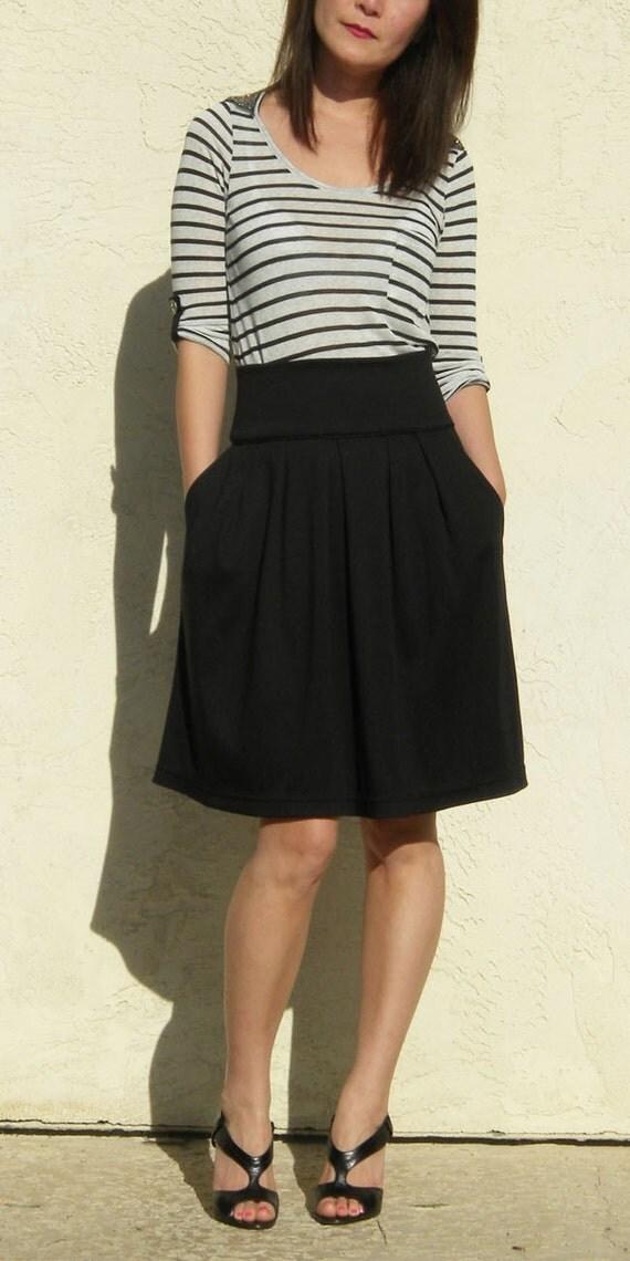 Black High Waist Flare Skirt wtih Pocket, Black Full Skirt, Pleated Skirt / Handmade Skirt - Black